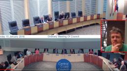 Central Coast Council meeting. Interim CEO Brian Glendenning inset, image; LinkedIn profile