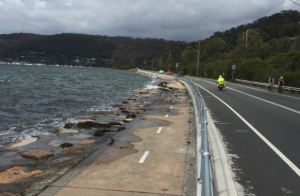High tides regularly threaten the Brisbane Water Drive at Tascott. Fortunately the king tides were not accompanied by strong winds. Image; CNP