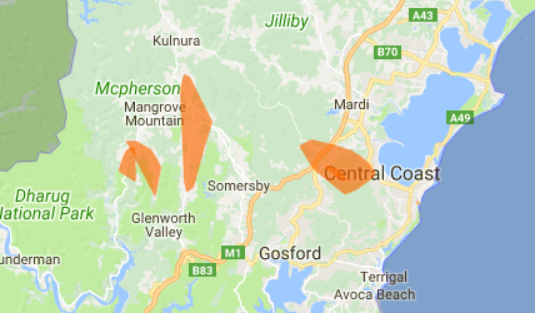 Ausgrid's live power outage map of the Central Coast.