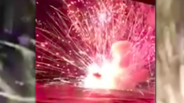 The barge 50m off Terrigal beach alight on NYE. Image: CC Incidents