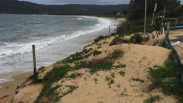 The foreshore adjacent to Umina Surf Life Saving Club was threatened by the high tides. Image CNP