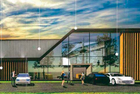 Architect's impression of the AAI hangar and office at Warnervale Airport