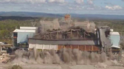 Drones captured the demolition of the boiler and coal hopper structures at Munmorah Power Station