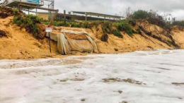 A recent Central Coast Council photograph of high tide at Ocean Beach