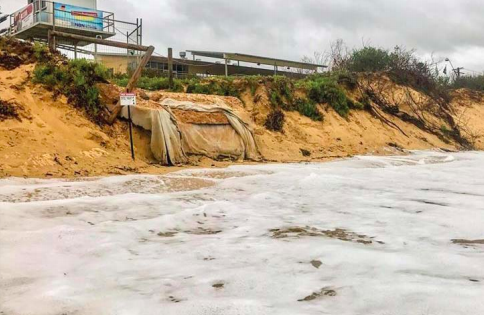 A recent Central Coast Council photograph of high tide at Ocean Beach