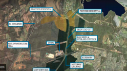 An aerial view of the suburbs around and under which the Wallarah 2 coal mine will be located