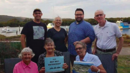 Kate da Costa from Central Coast Greens and Cr Richard Mehrtens with members of Save Woy Woy Waterfront