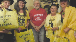Mike Campbell from the Australian Coal Alliance surrounded by Knitting Nannas at the Avoca Theatre fundraiser