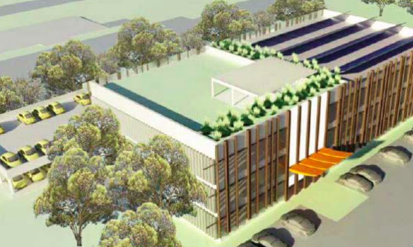 A sketched perspective of the proposed commercial building at Nth Wyong