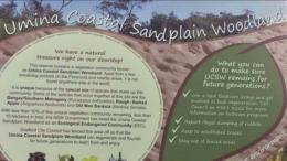 A sign erected by the former Gosford Council near Umina Oval called Umina Coastal Sandplain Woodland a natural treasure