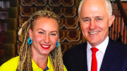 Umina boxer Anja Stridsman with Malcolm Turnbull