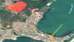 The PFAS site at the Munmorah/Colongra Power Stations is show in red and Budgewoi Creek, subject to fishing restrictions is show in orange. Image: Google Maps with custom layers