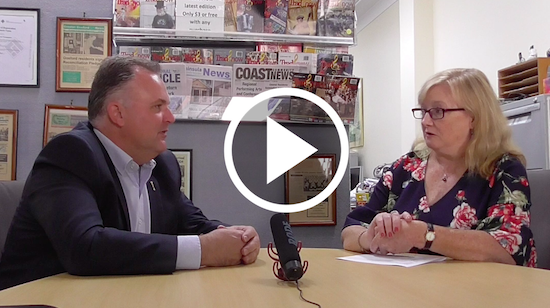 Adam Crouch MP talks to Jackie Pearson in a video news article. Image CNP