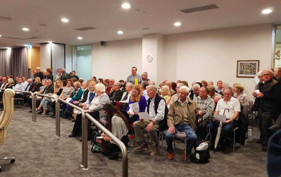 An over-fl owing public gallery at Central Coast Council's Gosford chamber on May 14