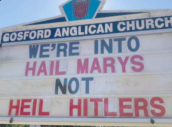The letter board at the front of Gosford Anglican Church