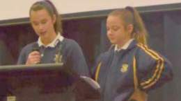 Henry Kendall High School students Erika Braithwaite and Isabella Kusturin recently presented to the student body on the latest initiatives of the Health and Fitness Program