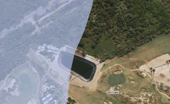 An aerial view of the irrigation lake at Magenta with the shaded area in the coastal zone