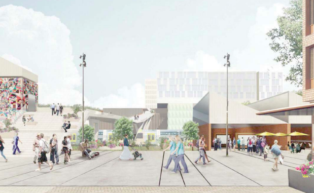 Artist's impression of a new public space between Mann St, the railway and the hospital