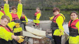 Narara Valley High School students pulled 160kg of rubbish from Brisbane Water