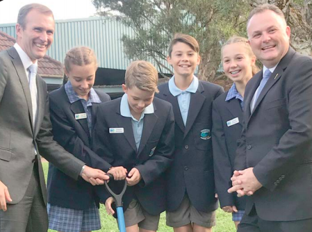 Education Minister, Mr Rob Stokes, Member for Terrigal, Mr Adam Crouch, and Terrigal Public School student leaders
