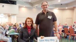 Member for Gosford Ms Liesl Tesch with Save Woy Woy Waterfront community group president Mr Ross Cochrane