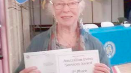Woy Woy CWA secretary Ms Pam Clifton accepted the award on behalf of the branch