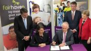 The Prime Minister and Premier sign the joint NDIS agreement at Fairhaven