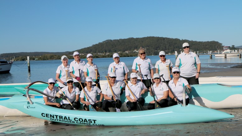 Some of the Central Coast Outrigger Canoe Club members getting ready to compete in Tahiti