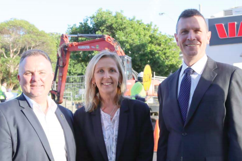 NSW Member for Terrigal, Mr Adam Crouch, with Central Coast Mayor Jane Smith and Council Chief Executive Officer Mr Gary Murphy