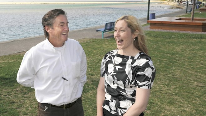 Grant congratulating Emma on her election to Wyong council in 2008 Picture: Peter Clark