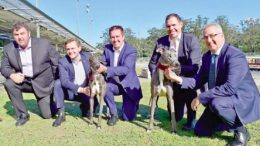 Gosford Greyhounds' Track Manager, Ryan Freedman, MLC Taylor Martin, Minister for Racing, Paul Toole, Greyhound Racing NSW CEO, Tony Mestrov, and CEO of the NSW GBOTA, Brenton Scott
