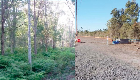 E2 land at Kangy Angy before (left) and after (right) clearing