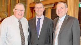 Laurie Maher with Central Coast Council CEO, Gary Murphy, and Coast Shelter President, Gavin Shepherd
