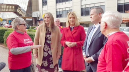 Member for Dobell, Ms Emma McBride, Labor Candidate for Robertson, Ms Anne Charlton and Federal Opposition Leader, Mr Bill Shorten, with Labor supporters at Gosford