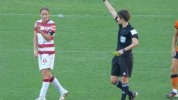 Red Card for Central Coast Mariners W-league 2018 bid. (Image: Garriock of Brisbane Roar. wiki-commons licence by W Major)