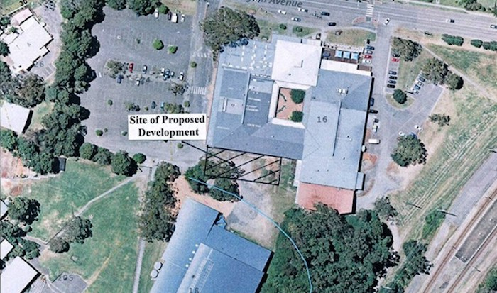 Aerial view of the proposed site for the student accommodation at Niagara Park.