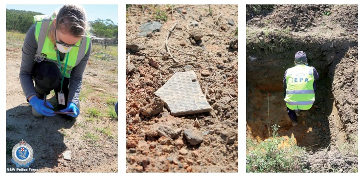 EPA inspectors on the Cherry Lane property believed to be the destination of restricted waste. Image: NSW Police