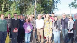 State Member for The Entrance, David Mehan, Councillor Bruce McLachlan, Mayor Jane Smith, Councillor Jeff Sundstrom and Member for Dobell Emma McBride with Kangy Angy residents