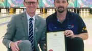 The Entrance MP, David Mehan, with tenpin bowler, Kyle Farrell