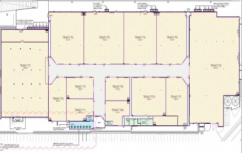 Proposed fl oor plan for bulky goods retailers in the former Masters' Centre at West Gosford