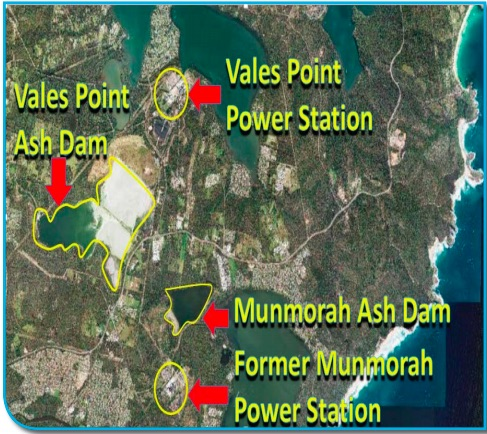An EPA map showing the location of local power station ash dams