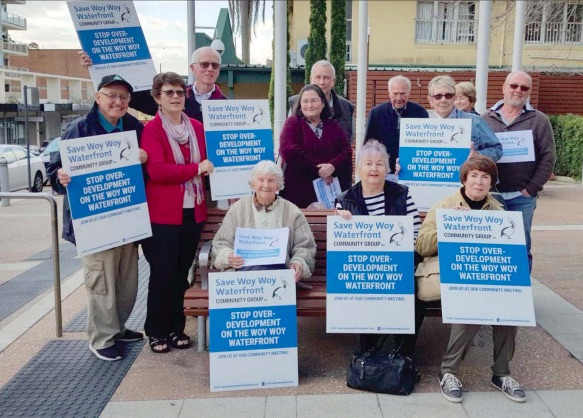 Save Woy Woy Waterfront members outside Gosford chamber of Central Coast Council