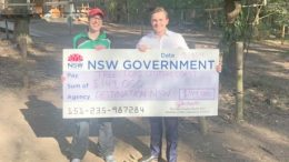 TreeTops Adventure Park's Sarah Watkins, receiving the funding from Taylor Martin MLC