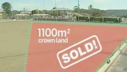 A graphic used by ABC News to show the 1100 square metres of Crown Land sold to Woy Woy Holdings for $38,000