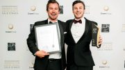 Wayne and Nathan Chivas with their award for the Capri development