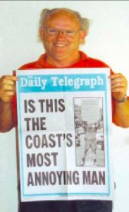 Ed James, community campaigner  proudly displays his headlines.
