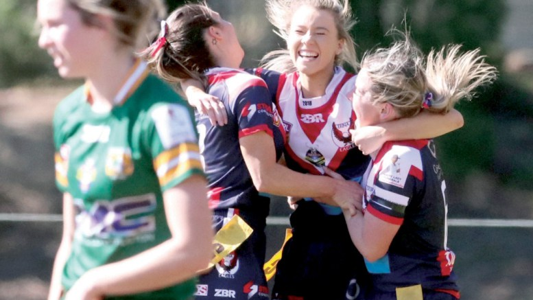 Erina celebrate the match winning try during their 16-9 win Photos: Andrew Stark