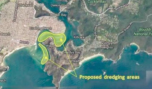 Proposed dredging area shown in yellow but the initial grant applies only to the location closest to Little Box Head