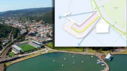 The waterfront in its present form and (inset) diagram of potential for expansion and development on the breakwater