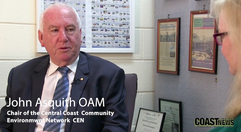 John Asquith, Chair of the Central Coast Community Environment Network speaks to Jackie Pearson
